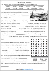 industrial revolution worksheets cloze reading close pdf