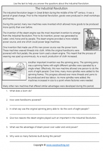 industrial revolution worksheets reading comprehension questions answers pdf