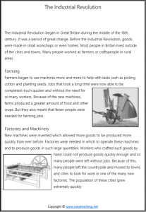 industrial revolution worksheets reading passage text pdf