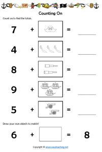 pirate worksheets addition counting on pdf