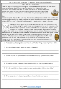 pirate worksheets crew reading passage comprehension pdf grade 3 grade 4