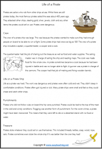 pirate reading text passage pdf pirate worksheets grade 1 grade 2