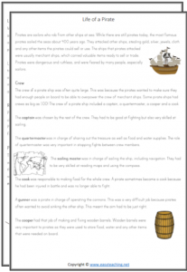 pirate reading text passage pdf pirate worksheets grade 3 grade 4