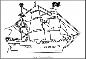 pirate worksheets ship color in coloring in colour in page pdf