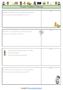 pirate worksheets subtraction word problems solving worded