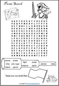 pirate worksheet word search find a word
