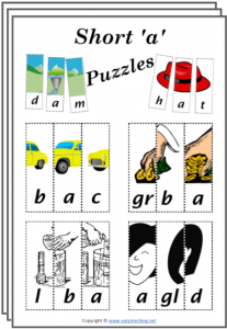cvc word puzzles short a cut paste