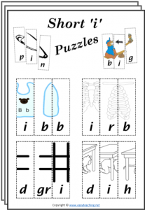 cvc word puzzles short i cut paste