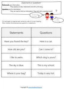 end sentence punctuation worksheets statement question mark full stop pdf answers