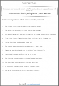 comma worksheets lists items grade 3 year 4 pdf answers