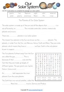 solar system worksheets space close passage pdf