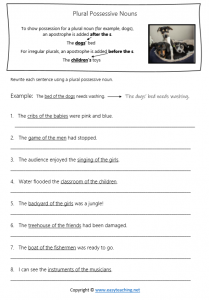 plural possessive noun worksheets apostrophes answers pdf