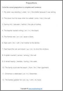 preposition worksheets pdf circle answers