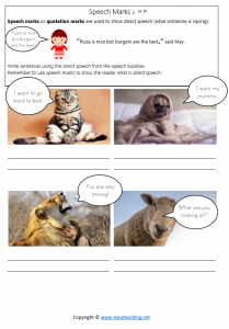 quotation mark worksheets speech marks direct speech bubbles answers pdf