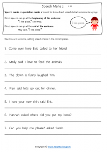quotation mark worksheets speech marks direct speech answers pdf