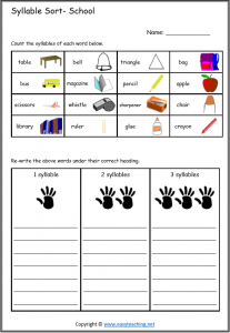 syllable worksheets sort school beats words pdf