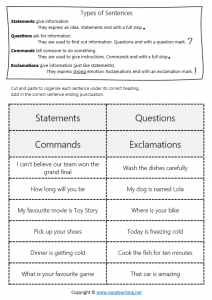 four types of sentences worksheets cut paste statement question command exclamation pdf answers