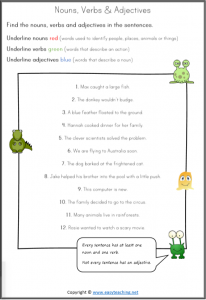 nouns verbs adjectives find underline worksheet pdf