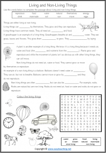 living non-living worksheet cloze activity reading pdf
