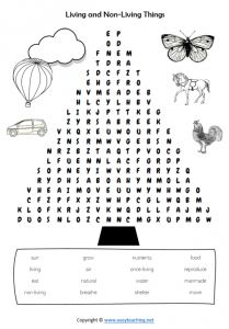 living non living worksheets word search find a word pdf