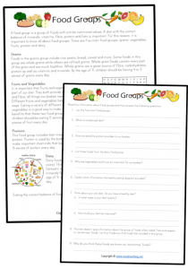 healthy eating worksheets food groups comprehension reading passage text health kids pdf