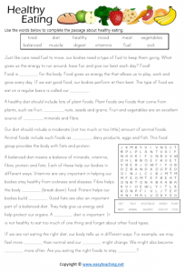 healthy eating worksheets reading cloze passage kids health pdf