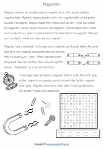 forces worksheets magnet worksheets reading science kids pdf