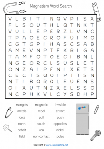 forces worksheets magnetism magnet word search wordsearch find a word science pdf