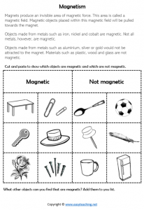 forces worksheets magnet worksheets magnetic not magnetic cut paste science year 3 4 pdf