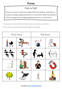 forces worksheets push pull circle science kids cut paste pdf