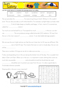 sun safety worksheets slip slop slap reading cloze activity health kids pdf