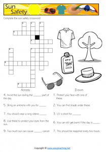 sun safety worksheets crossword health kids pdf