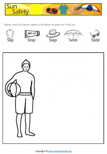 sun safety worksheets draw activity health kids pdf