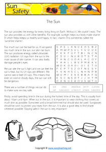 sun safety worksheets slip slop slap reading passage health kids pdf