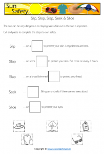 sun safety worksheets slip slop slap seek slide health kids pdf