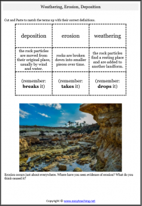 weathering erosion match cut paste deposition worksheet pdf