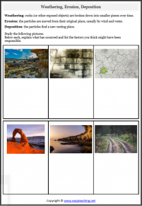 weathering erosion worksheets kids pdf