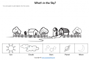 whats in the sky worksheets cut paste sun moon stars science kids pdf