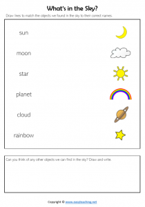 whats in the sky worksheets match sun moon stars science kids pdf
