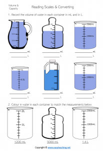 capacity worksheets converting ml millilitres litres liters pdf grade 4 year 5