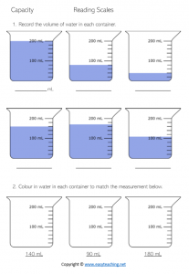 capacity worksheets volume reading scales ml litres millimetres year 3 grade 4 5 pdf