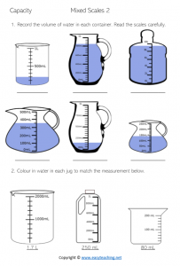 capacity worksheets converting ml millilitres milliliters litres liters pdf grade 4 year 5