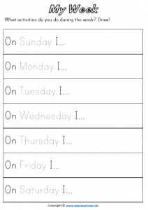 days of the week worksheets timetable pdf time