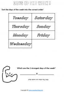 days of the week worksheets order cut paste time pdf