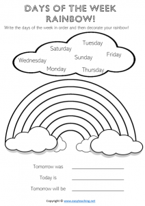 days of the week worksheets rainbow color colour fun kids pdf