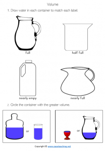 capacity worksheets volume jugs containers draw year 1 year 2 pdf