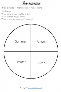 seasons worksheets draw pdf activities