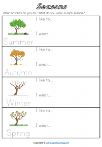 seasons worksheets clothes activities pdf