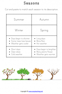 seasons worksheets match descriptions cut paste pdf