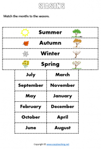 seasons worksheets match months cut paste pdf